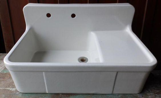 White Porcelain Farm Sink : ... Sink Drainboard Crane 3392-14 Farm House Sink, White Porcelain and