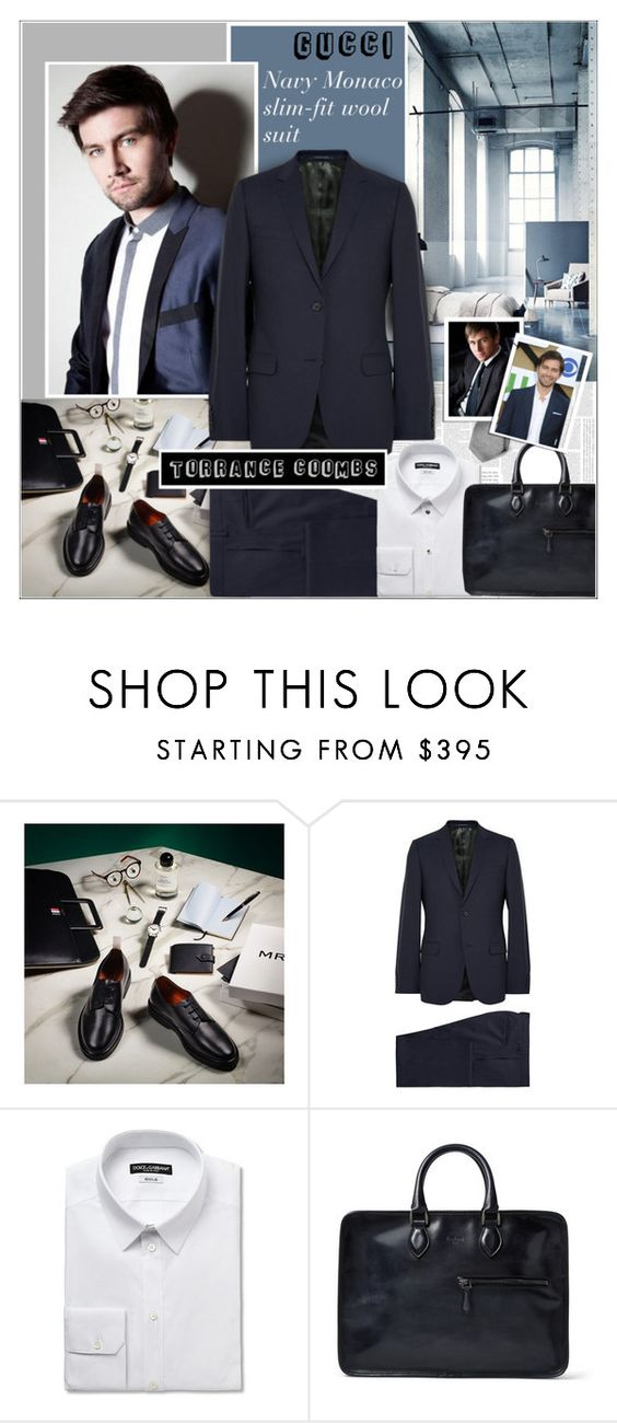 """WOOL SUIT:Torrance Coombs"" by alves-nogueira ❤ liked on Polyvore featuring moda, H&M, Dolce&Gabbana, Berluti e Brioni"