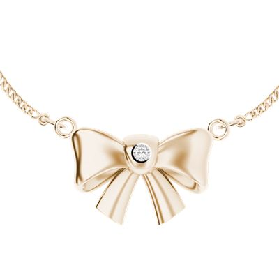 Rose gold-plated bow necklace with diamond - a favourite combination!