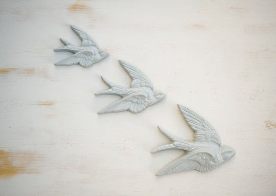 Vintage birds or swallows wall art set of three by bagsyblueco