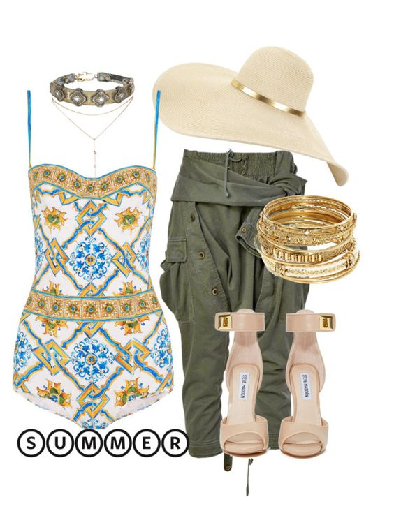"""""""Untitled #66"""" by styledbyminx ❤ liked on Polyvore featuring GUESS by Marciano, I Still Love You NYC, Faith Connexion, Steve Madden, Dolce&Gabbana, ABS by Allen Schwartz and summerhat"""