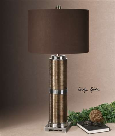 Textured Base Finished In A Metallic Copper Bronze Accented With Polished Nickel Plated Details. The Round Hardback Drum Shade Is A Chocolate Linen Fabric With Light Slubbing.