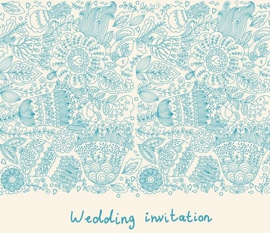 Hand Drawn Wedding Invitation Card Design Template 02 Vector – Free Wedding Invitation Cards Templates