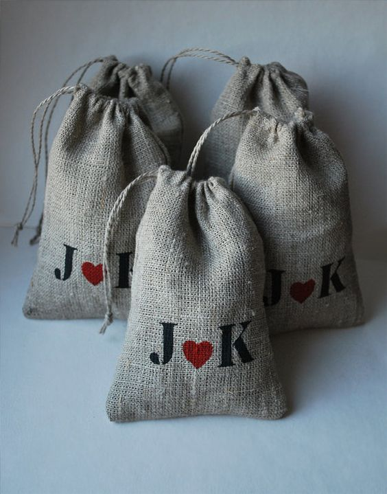 Burlap Linen Favor Bags Set of 100 PERSONALIZED  by magdalinenHome, $135.00