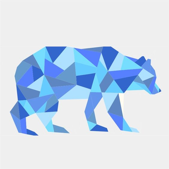 Geometric paper-pieced bear