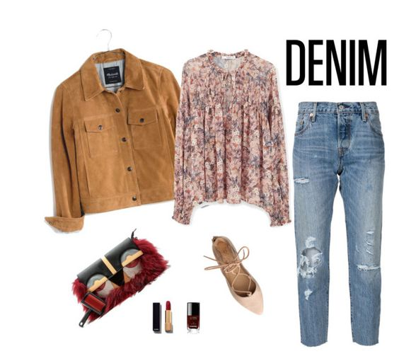 """""""Distressed Denim"""" by fashionkookoo ❤ liked on Polyvore featuring Levi's, Madewell, MANGO, Chanel, women's clothing, women, female, woman, misses and juniors"""