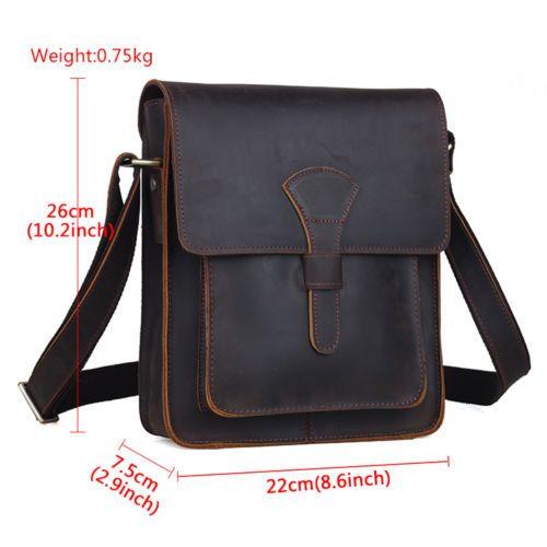 Men/'s Rustic Genuine Leather Messenger Shoulder Bag Cross Body Satchel Bag