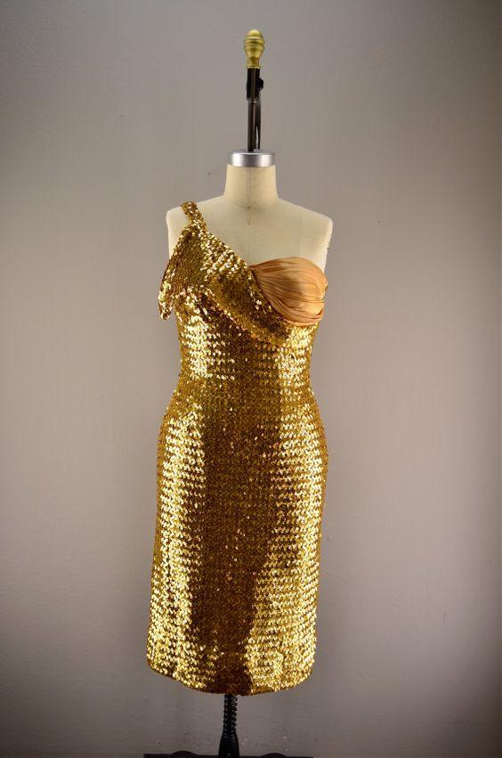 1950s sequin dress / Vintage wiggle dress / 50s by melsvanity, $198.00