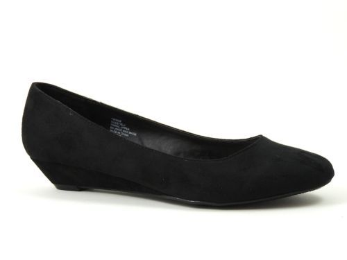 Nine West Women&39s Shoes SWEETIE-L1 Black Low-Heel Wedge Pumps Size