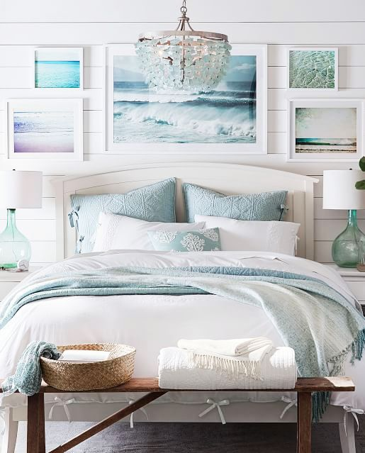 Sea Glass Chandelier From Pottery Barn On Sale As Of Jan 12 2019 Featured On Completely Coastal Beach Style Bedroom Coastal Master Bedroom Bedroom Decor