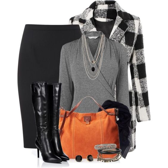 """""""Pencil Skirt & Knee High Boots"""" by brendariley-1 on Polyvore"""