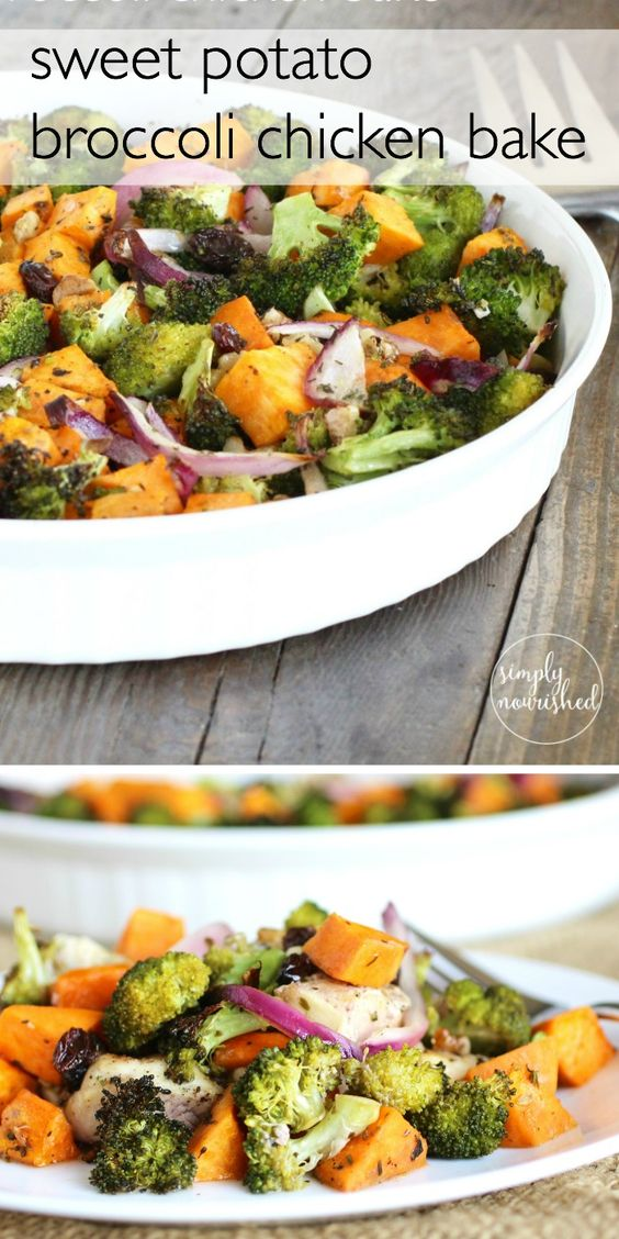    Paleo Sweet Potato Broccoli Chicken Bake    An easy weeknight meal    http://simplynourishedrecipes.com/sweet-potato-broccoli-chicken-bake/ #paleo #chicken #grainfree