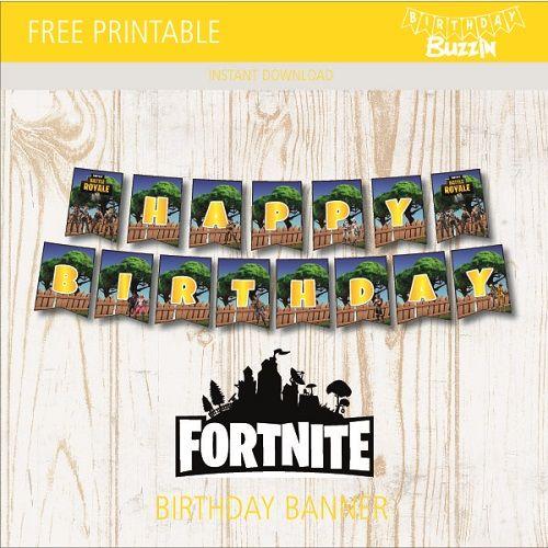 Free Printable Fortnite Birthday Banner Birthday Buzzin Birthday Party Printables Free Birthday Banner Free Printable Birthday Banner Template
