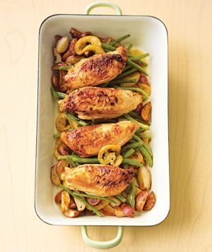 Pan-Roasted Chicken With Lemon-Garlic Green Beans|A light dressing of olive oil, lemon, and garlic gives this dish a boost of flavor. The chicken cooks in the same pan as the potatoes and green beans.