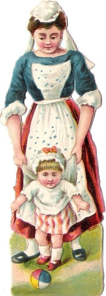 Oblaten Glanzbild scrap die cut chromo Dame Kind child Mutter Kindermädchen Baby: