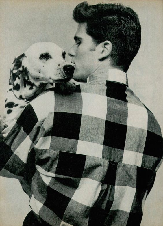 Michael Schoeffling and a dalmation by  Michael Halsband, GQ, June 1983.