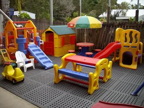 Play area built on a deck - don\'t have to worry about moving toys ...