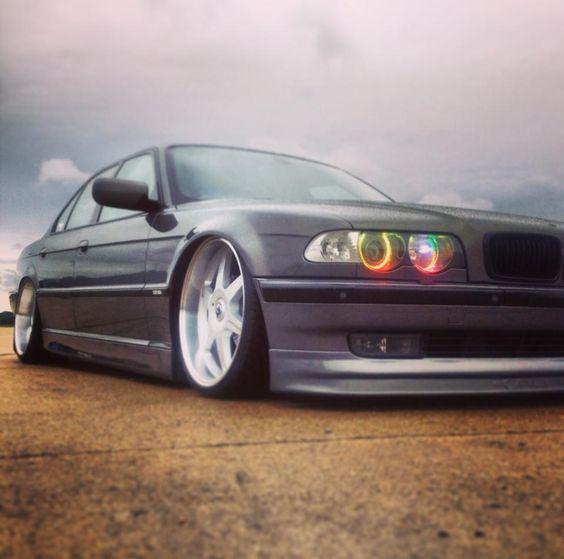 BMW E38 728i Sport Slammed Grey On White Rims