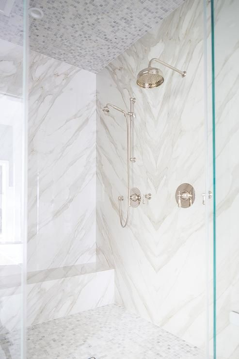 mosaic marble tiled shower ceiling
