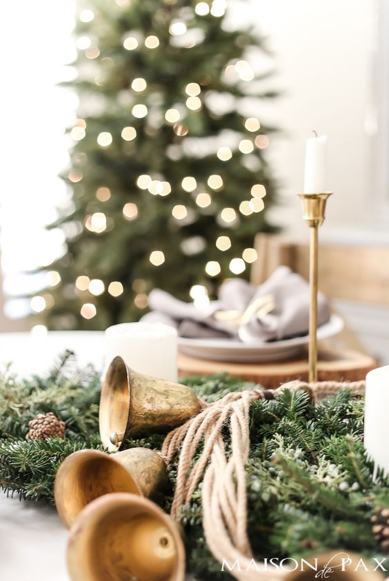 christmas tree with gold accents and table scape