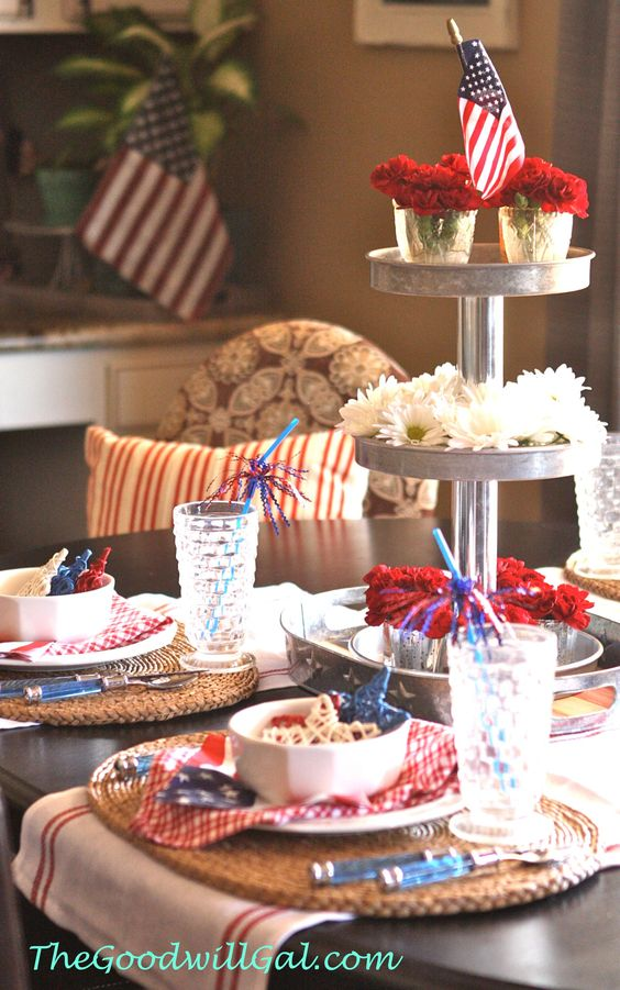 #4th of July table scape made easy with items from #Goodwill. #Independence, #table
