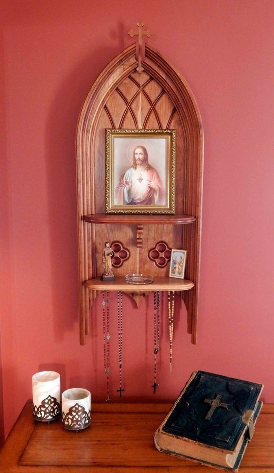 Catholic home altar shown with sacred heart of jesus for Catholic decorations home