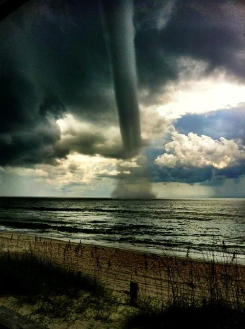 I've never seen anything like this before; it's a waterspout over Carolina Beach in North Carolina