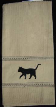 The Cat's Closet   Black cat dish towel