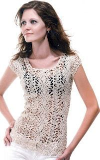 Blusa en crochet  Graphed, with layout diagram.  Beautiful.  Looks like it is worked from middle out lengthways