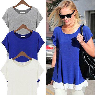 Women's Fashion Peplum Tops T-Shirts Cotton&Chiffon Blouse Plus Size Casual Tee