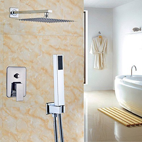 Rozin Chrome 2 Way Mixer 12 Square Rainfall Shower Set With Hand Sprayer Wall Mounted For Sale Rainfall Shower Shower Set Brushed Nickel Bathroom