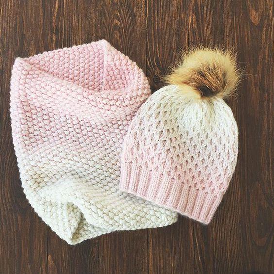 Бело-Розовый набор из норки, на голову 55-57 5000: