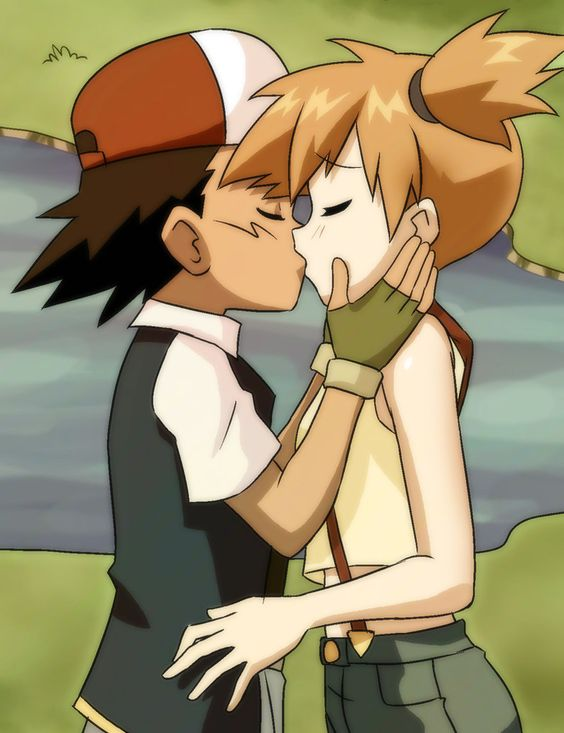 Ash and Misty sittin in a tree K I S S I N G first comes love then comes marriage then comes Ash with a baby carriage