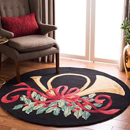 Safavieh Vintage Poster Collection Vp321a Hand Hooked Black And Multi Wool Round Area Rug 5 Feet In Diameter 5 Diameter Lovely Novelty Colorful Rugs Round Area Rugs Rugs