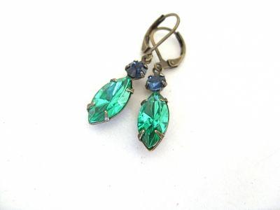 Saskia Montana Blue & Light Emerald Earrings | JO JO DE BULMER MISI Handmade Shop