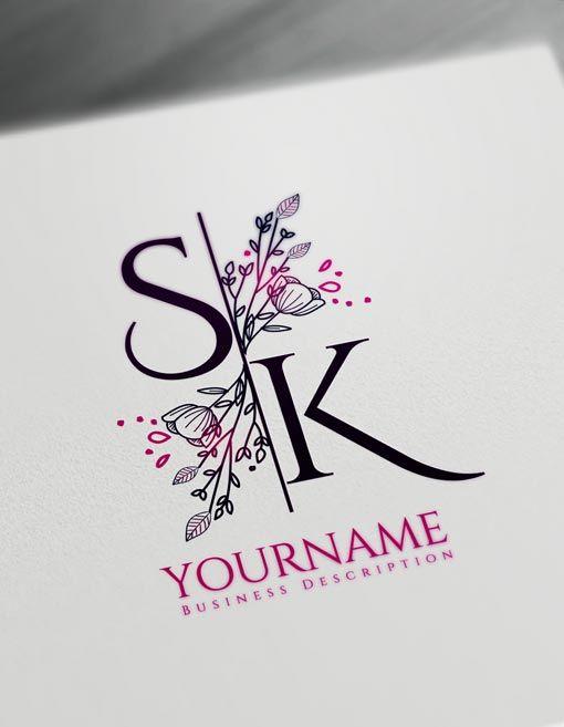 Floral Letter Logos Monogram Maker Design Create Cool