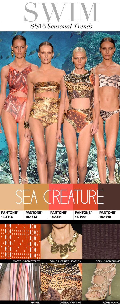 Trend Council:  Swim SS16 Seasonal Trends - Sea Creature  #üçgengezegenler #fashion #trends