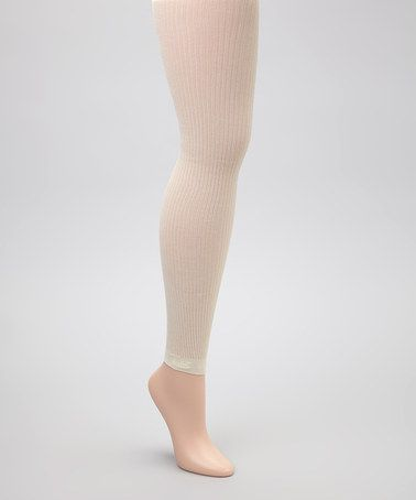 Take a look at this Cream Ribbed Sheer Footless Tights by Anna Sui on #zulily today!