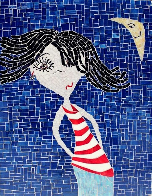 In Stripes a stained glass mosaic by Kasia Polkowska Visit:https://www.facebook.com/KasiaMosaics