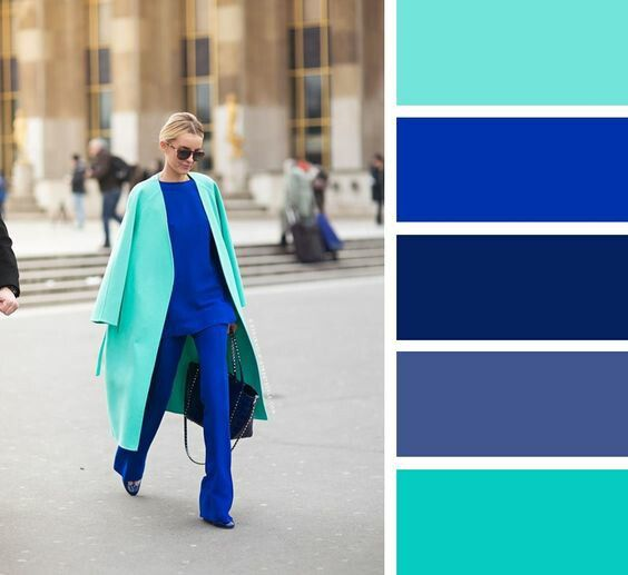 Color Coded Palette Of Royal Blue And Turquoise Blue Color Combinations Colour Combinations Fashion Royal Blue Outfits