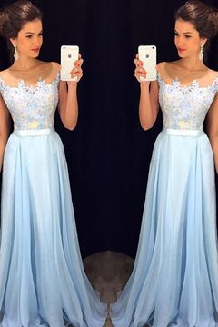 2016 Scoop Cap Sleeves Prom Dresses Chiffon With Applique Floor Length US$ 149.99 STPSNJM4TC - StylishPromDress.com for mobile