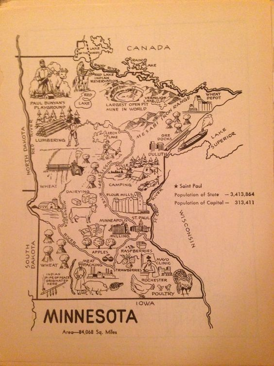 Minnesota Map Art Vintage Map Print Illustrated Map Wall Art – Mn Travel Map