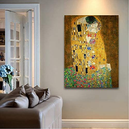 The Kiss By Gustav Klimt Painting Canvas Art Wall Decor Klimt Paintings Canvas Art Painting