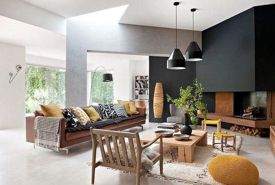 Happy lundi #6 - Architecture et grains de moutarde - inspiration salon jaune moutarde, mur noir, matieres naturelles