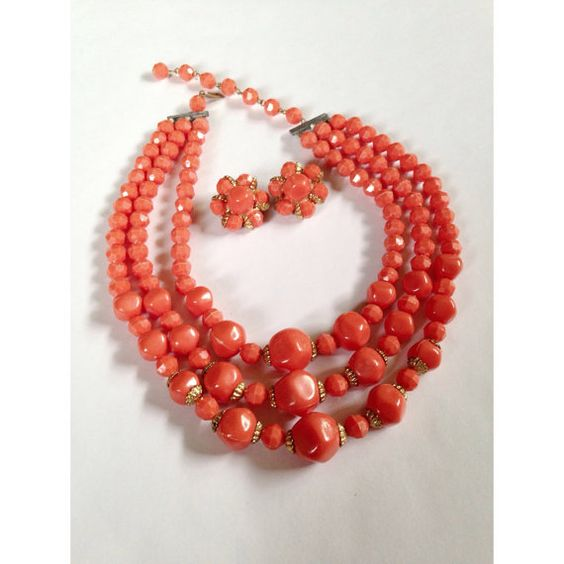 Vintage  Coral Orange Faceted Jewelry Set Triple by ArtDecoDame, $18.00