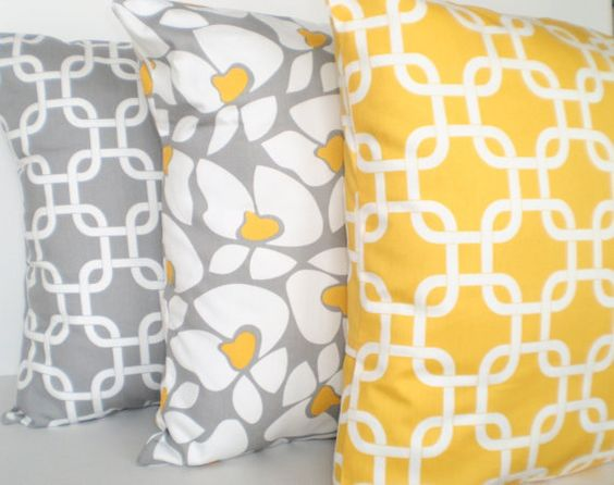 Decorative Throw Pillows Cushion Covers Gray Yellow White BOTH SIDES - Combo Set of Three 18 x 18