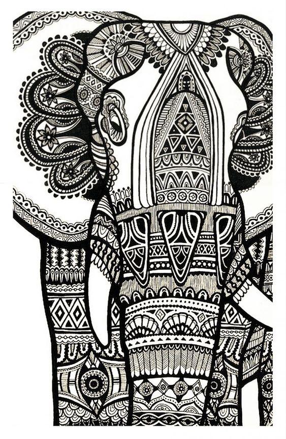 Coloriage difficile l phant gratuit a imprimer pour - Elephant a imprimer ...