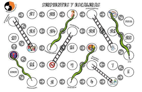 Juego serpientes y escaleras de educaci n sexual for Escaleras y serpientes imprimir