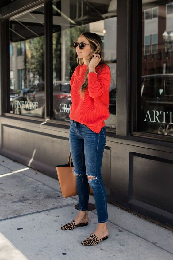 leopard loafers and a bold red sweater