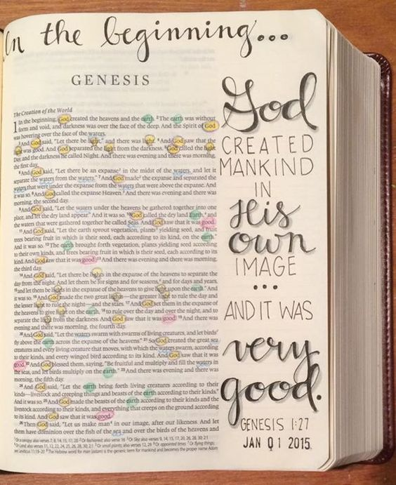 Genesis - In the beginning God created mankind in His own image ... and it was very good. [credit to A.Cortes, FB]